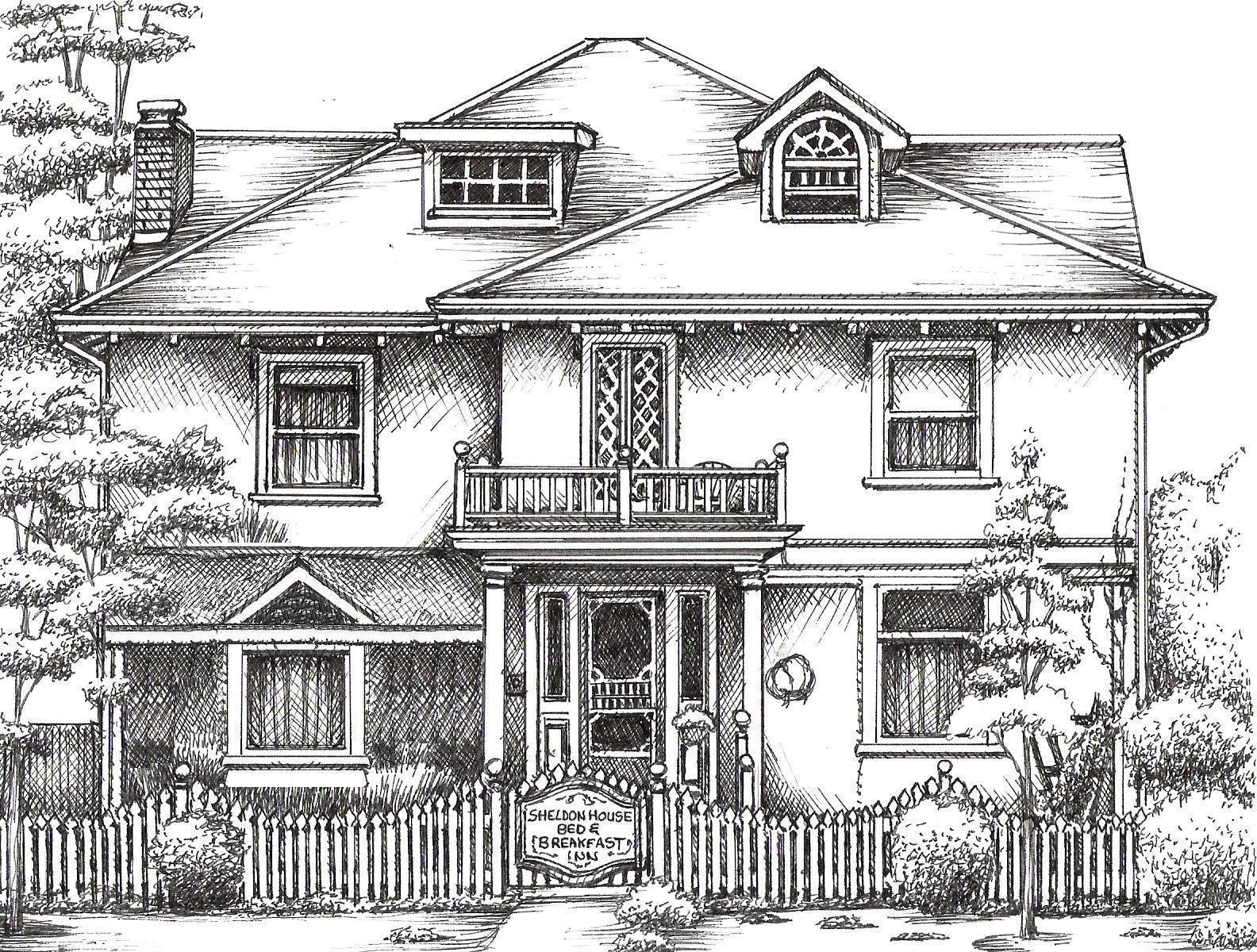House Drawing Picture Sketch Modern House